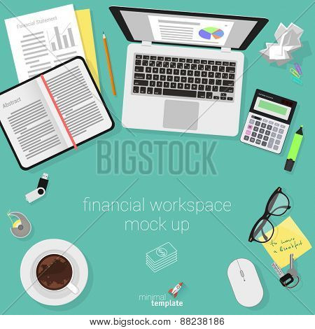 Flat design accountant workspace. Minimalist vector.
