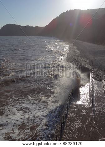Waves Upon Railings Slipway Seascape
