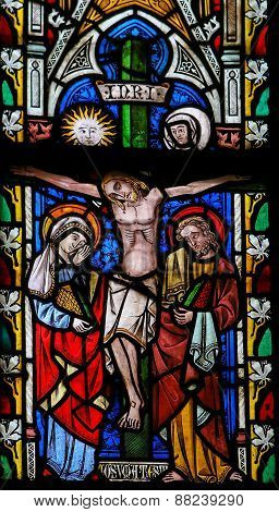 Crucifixion Of Jesus - Stained Glass In Sint Truiden Cathedral