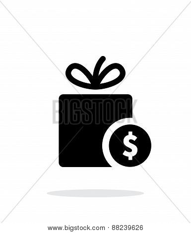 Gift with price tag icon on white background.