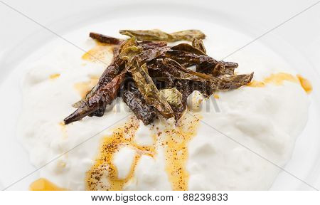 Traditional Turkish appetizer called Atom closeup