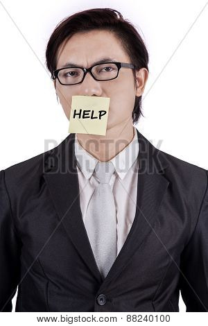 Entrepreneur Attaching A Help Text On Mouth