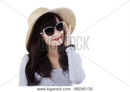 Cute Model With Sun glasses And Hat