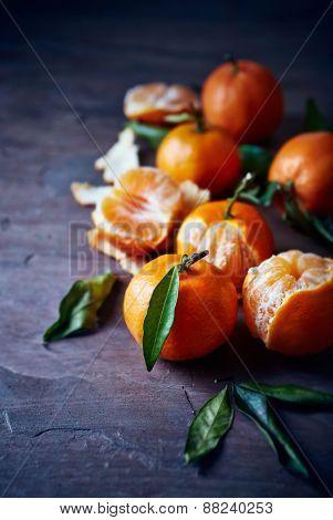 Mandarin oranges on a stone background