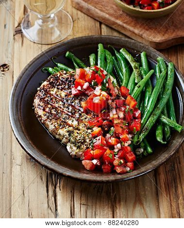 Grilled Turkey Fillet with Tomato and Pepper Salsa