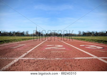 Athlete Track or Running Track with three numbers (1st, 2nd and 3rd) good for business or motivation designs