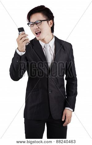 Furious Worker Screaming On His Cellphone