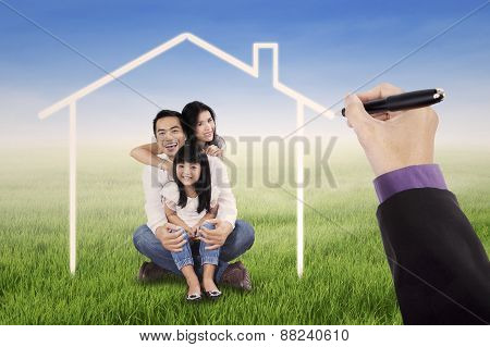 Little Happy Family With A Dream Home