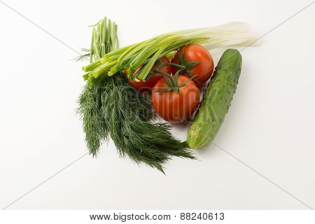 Tomatos And Green Vegetable