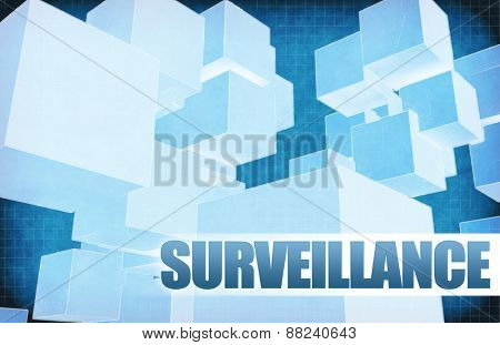 Surveillance on Futuristic Abstract for Presentation Slide in Blue