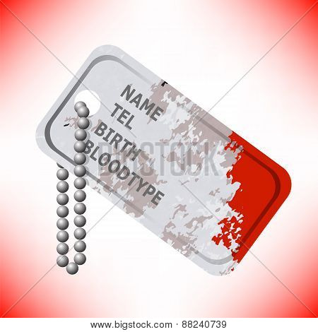 Military Dog Tag on Grey Background.