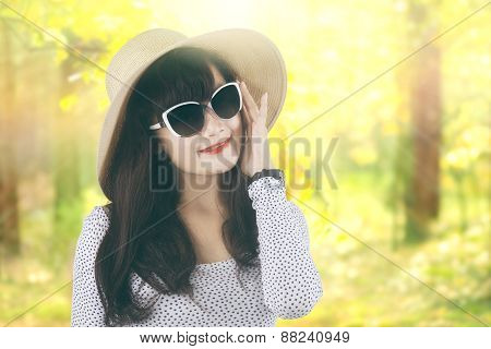 Lovely Woman In Autumn Forest