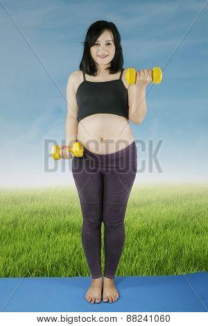 Pretty Pregnant Woman Workout