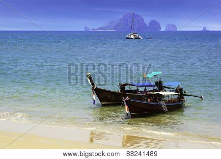 Ao Nang Beach With Boat In Krabi