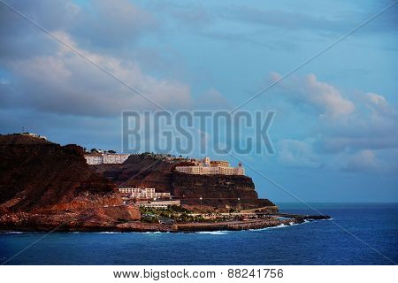 Atlantic resort in Gran Canaria, Spain, Europe - sunset light