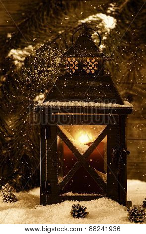 Old Lantern With Glowing Candle During The Holiday Season