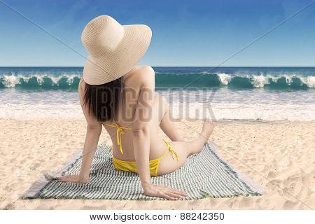 Woman Enjoying Summer Day At Coast