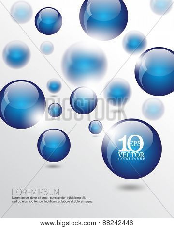 eps10 vector 3d floating blue round sphere orb business elements background