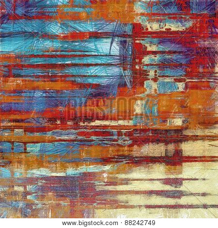 Old background with delicate abstract texture. With different color patterns: yellow (beige); brown; red (orange); blue