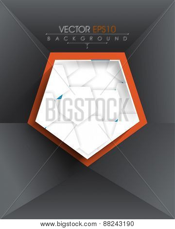 isolated pentagon with overlapping geometric elements inside eps10 vector background