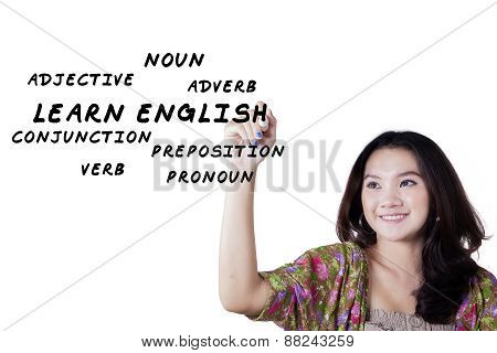 Teen Girl Learn English Materials