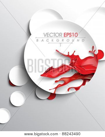 red ink paint splash inside round circle frame business background eps10 vector