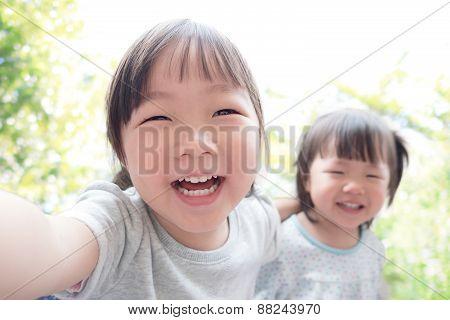 Happy Child Take A Selfie