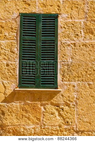 Alcudia Old Town mediterranean wood window shutters Mallorca Balearic island of Spain