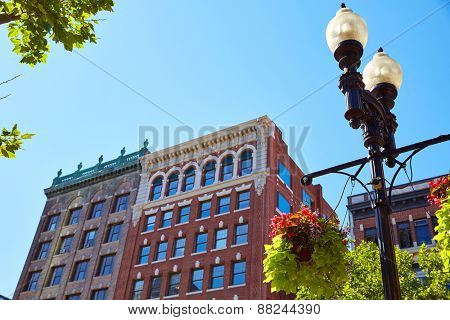 Boston streetlight flowers at Copley Square in Massachusetts USA