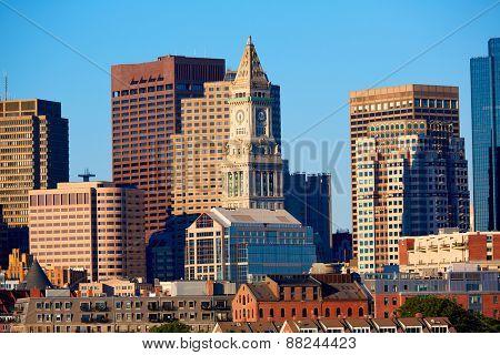 Boston skyline in sunlight at Massachusetts USA
