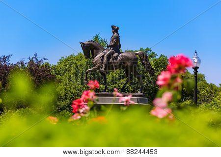 Boston Common George Washington monument at Massachusetts USA