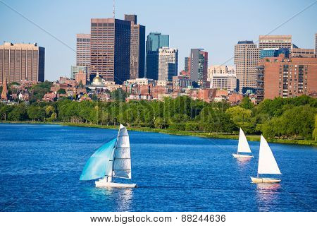 Boston from Harvard Bridge in Charles river at Massachusetts USA