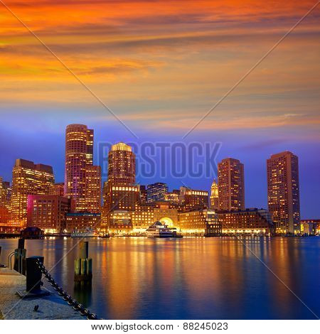 Boston sunset skyline from Fan Pier in Massachusetts USA