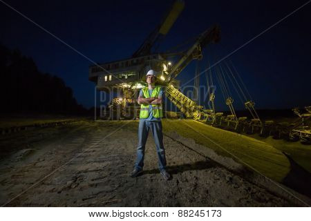 male worker on background of career stacker