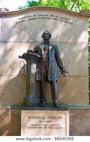 Boston Common Wendell Phillips monument in Massachusetts USA
