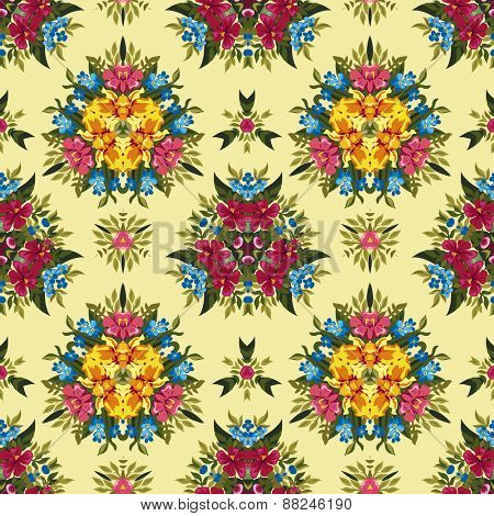 Floral abstract boho or hippie seamless pattern background. Mirror design. Vector illustration.