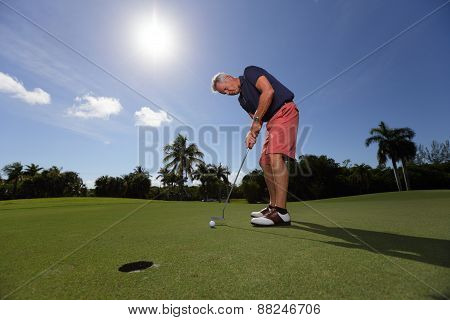 Handsome senior golfer