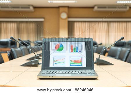 Before A Conference,laptop In Front Of Empty Chairs At Conference Room