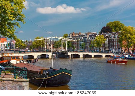 Amstel and bridge Magere Brug, Amsterdam, Holland