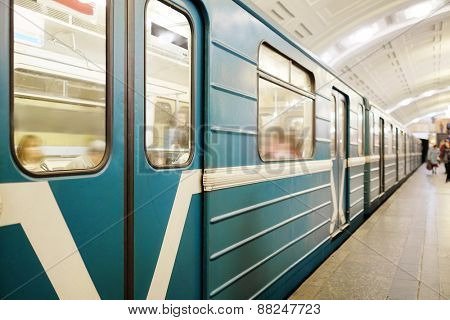 MOSCOW, RUSSIA  -  APRIL 12, 2015: Sokolnicheskaya line - the first line of the Moscow metro. Station of the Moscow metro