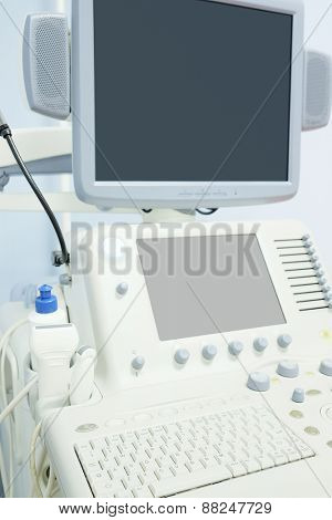 Closeup medical ultrasound diagnostic machine
