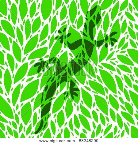 Green gecko lizard shadow silhouette over leaves seamless pattern, vector illustration