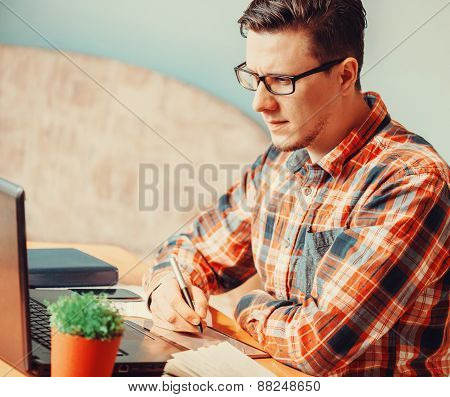 Man Working With Graphics Tablet