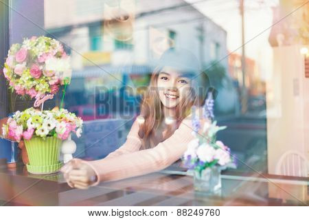 Long Haired Asia Girl Happy Smile Rear Mirror Reflection