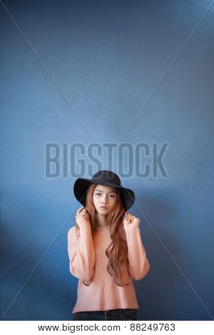 Long Haired Asia Girl Happy Smile With Black Hat Isolated Space For Text.