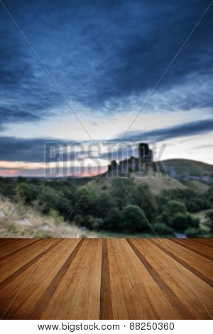 Beautiful Summer Sunrise Over Landscape Of Medieval Castle Ruins With Wooden Planks Floor