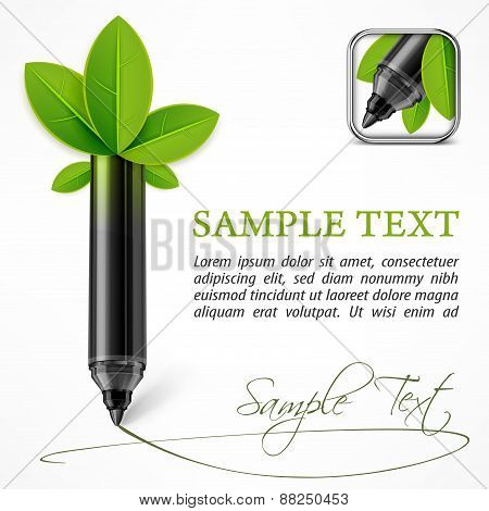 Ecology Concept – Felt Pen With Leaves