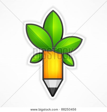 Creative Pencil With Green Leaves