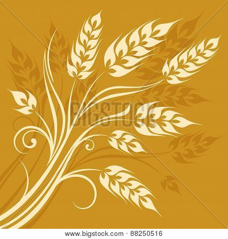 Stylized Ears Of Wheat On Yellow
