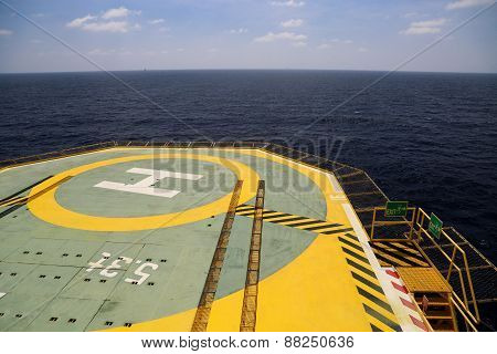 Helideck of oil and gas drilling rig in offshore industry, Helicopter landing area